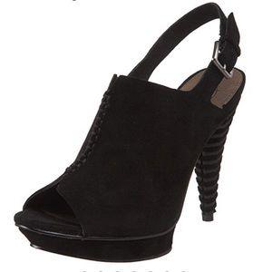 b. makowsky isla black suede sling back heels